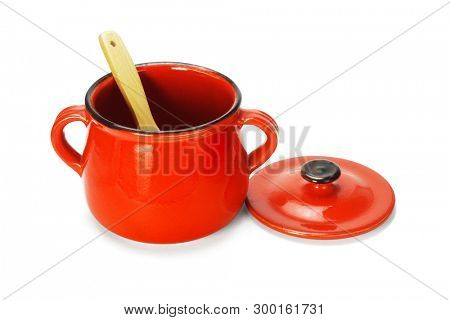 Empty Red Clay Pot with Wooden Scoop on White Background