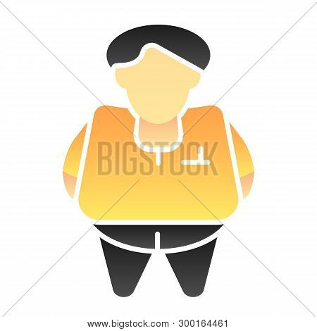 Fat Person Flat Icon. Obesity Color Icons In Trendy Flat Style. Fat Man Gradient Style Design, Desig