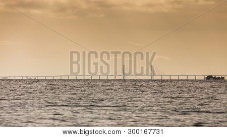 Oresundsbron. The Oresund Bridge Link Between Denmark And Sweden, Europe, Baltic Sea. View From Sail