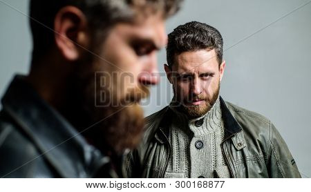 Men Handsome With Beard And Mustache Facial Hair. Barber And Beard Grooming. Masculine Men With Well