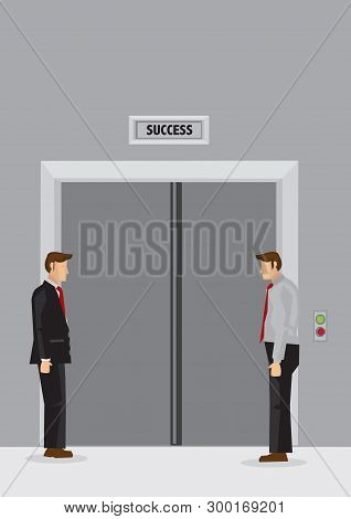 Two Cartoon Men Standing Idly In Lift Lobby And Waiting For Doors Of Elevator Labeled Success To Ope