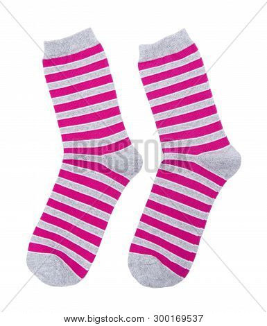 Striped Socks Isolated On The White Background