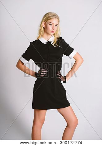 Vintage Model. Elegance In Simplicity. Fashionable Uniform. Vintage And Retro Style. Vintage Fashion