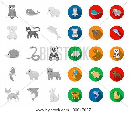 An Unrealistic Animal Mono, Flat Icons In Set Collection For Design. Toy Animals Vector Symbol Stock