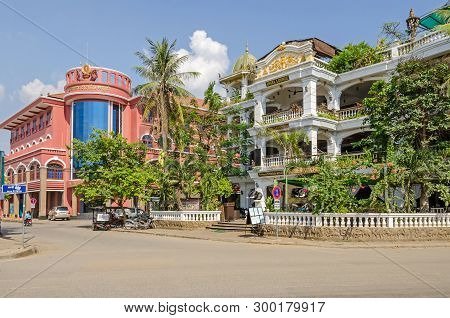 Siem Reap, Cambodia - April 12, 2018:  Boulevard Sivutha With National Bank Of Cambodia To The Left