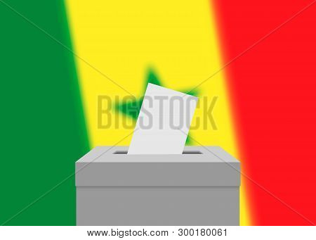 Senegal election banner background. Ballot Box with blurred flag poster