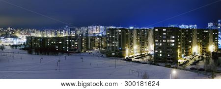 Cityscape Soviet Union Time In Night Time At Winter Season