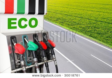 Gas station and highway. Bio fuel concept.