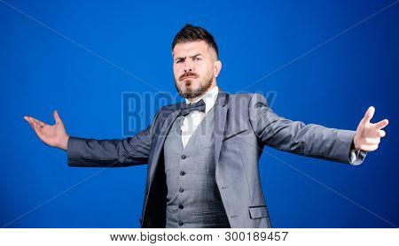 poster of Little party never killed anybody. esthete. stylish art director. mature illusionist. Bride groom ready for wedding. business in modern life. bearded man in formal suit. businessman with beard in tie