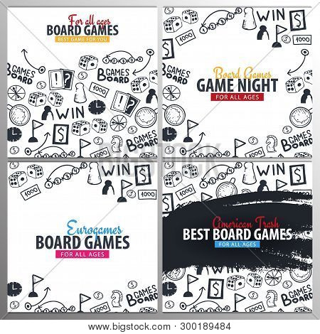 Set Of Board Games Banners. For All Ages. Hand Draw Doodle Background. Vector Illustration.