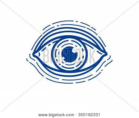 Eye Linear Vector Design Element For Logo Or Icon, All Seeing Eye Of God Or Medical Oculist Symbol.