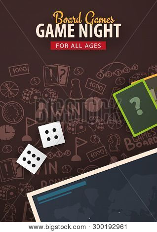Board Games Banner With Dice,  Playing Cards And Map. Hand Draw Doodle Background. Vector Illustrati