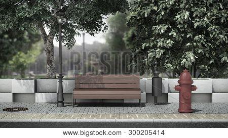 Street Background Bench On The Sidewalk 3d Render Image