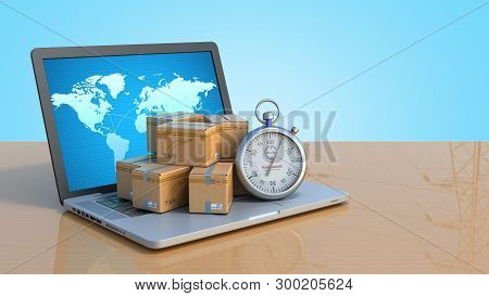 Box And Stopwatch Standing On A Laptop Concept Of Delivery 3d Render On Blue Gradient