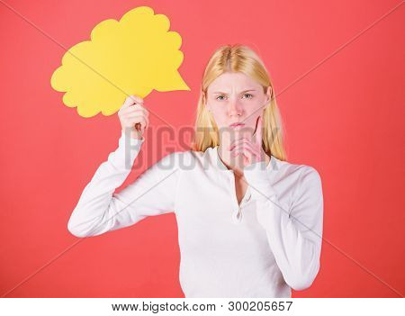 Girl With Speech Bubble. Thoughts Of Inspired Adorable Woman. Idea And Inspiration. Idea And Creativ