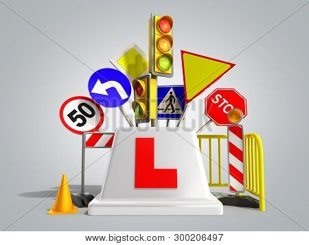 Concept Of Driver School Logo Road Signs Traffic Lights Fencing 3d Render On Grey Gradient