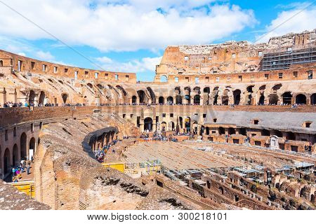 Rome, Italy - May 6, 2019: Interior Of Colosseum, Aka Coliseum Or Flavian Amphiteatre - The Biggest