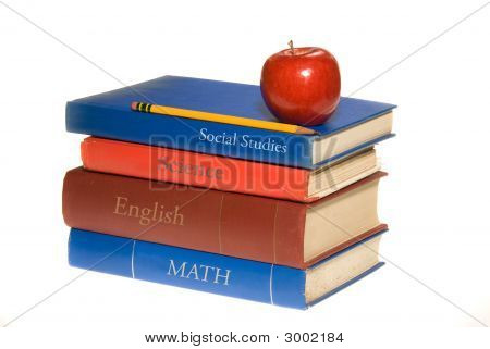 School Books And Apple