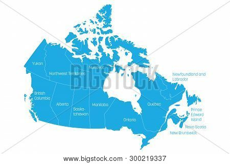 Map Of Canada Divided Into 10 Provinces And 3 Territories. Administrative Regions Of Canada. Blue Ma