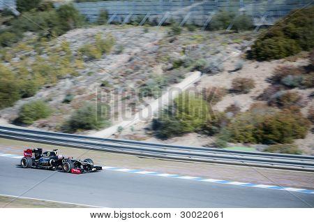 Kimi Raikkonen Test Driving His New Lotus F1 Car