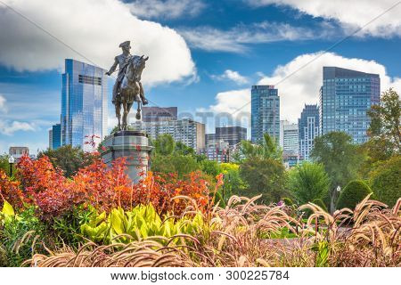 George Washington Monument at Public Garden in Boston, Massachusetts. (Equestrian Statue of George Washington unveiled July 3, 1869)