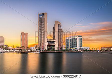 Corpus Christi, Texas, USA skyline on the bay in the evening.