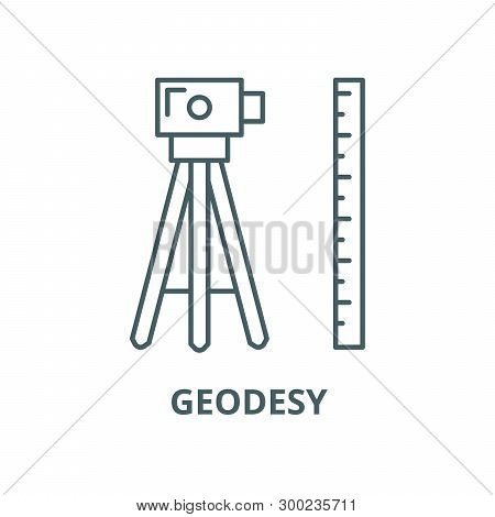 Geodesy Vector Line Icon, Linear Concept, Outline Sign, Symbol
