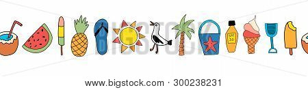 Summer Icons Seamless Vector Border. Repeating Banner Design With Watermelon, Popsicle, Pineapple, C