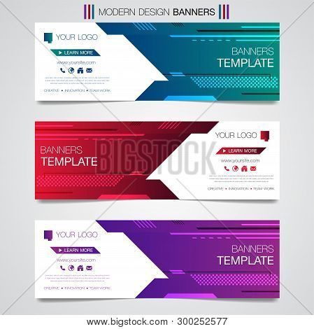 Abstract Horizontal Business Banner Geometric Shapes Design Web Set Template Background Or Header Te