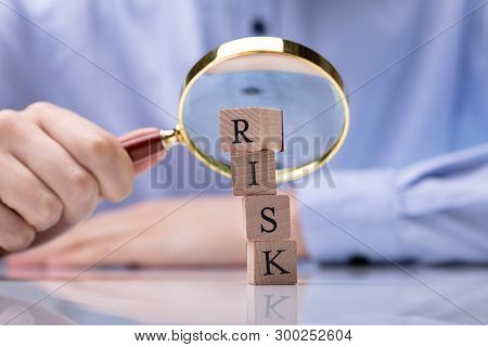Close-up Of Wooden Blocks With Risk Word