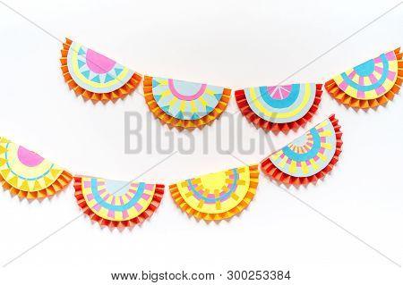 Mexican Paper Garlands Decorating. Cinco De Mayo Colorful Traditional Picado Banner Festive.