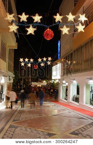 Marbella, Spain - December 7, 2008 - Festive Christmas Decorations Along A Town Centre