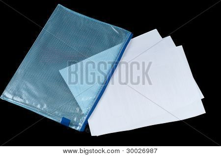 Some paper in the plastic checked envelope