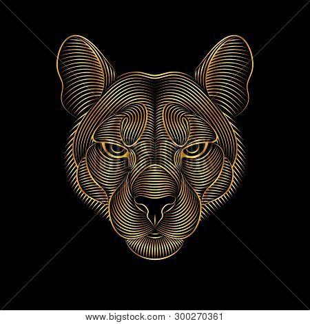 Engraving Of Stylized Golden Puma On Black Background