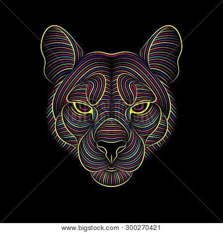 Engraving Of Stylized Psychedelic Puma On Black Background
