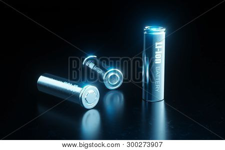 Close Up Concept Of Modern Metal Lithium Ion Battery Cell Used In Electrical Vehicle Battery Pack In