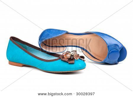 Two summer women shoes over white