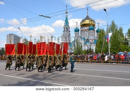 Omsk, Russia - May 9: Military Parade Dedicated To Victory Day, The City Of Omsk, Siberia, Russia 9