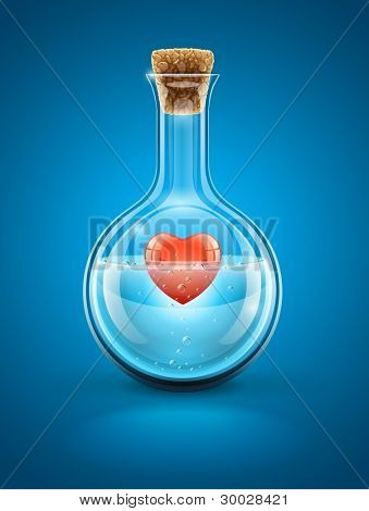 Glass flask bottle with red heart in water inside closed by cork. Vector illustration EPS10. Transparent objects used for shadows and lights drawing