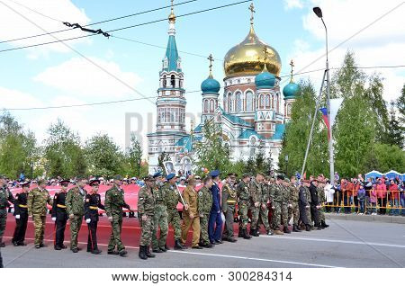 Omsk, Russia - May 9: People Rally In Honor Of Those Killed In The War 1941-1945