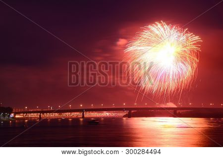 Omsk, Russia - August 6:fireworks In The Day, Three Hundred Years Omsk, Russia. August 6 2016