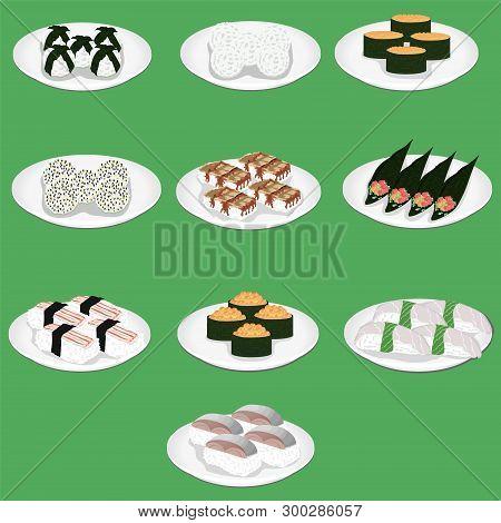 Sushi Is A Japanese Dish Of Specially Prepared Vinegared Rice Aji Amaebi Anago Conger Eel Ebi Nigiri