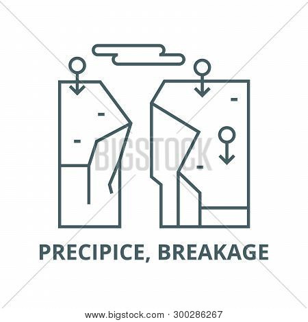 Precipice, Breakage Vector Line Icon, Linear Concept, Outline Sign, Symbol