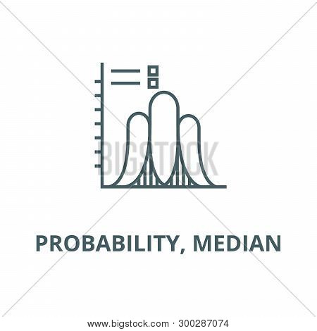 Probability, Median  Vector Line Icon, Linear Concept, Outline Sign, Symbol