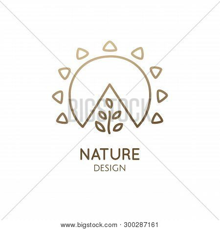 Sun And Tree Logo Template. Vector Minimal Icon Of Growing Plant. Symbol Of Growth, Development. Sam