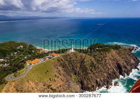 Aerial View Of Wategoes Beach At Byron Bay With Lighthouse. The Photo Was Taken Out Of A Gyrocopter,