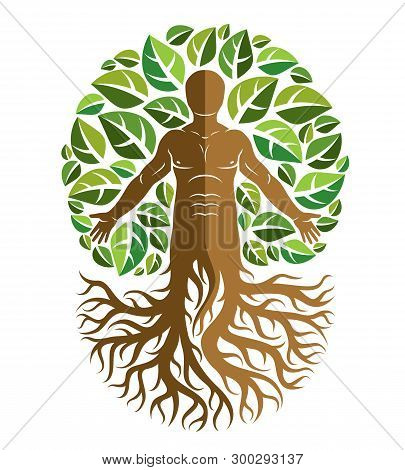 Vector Illustration Of Human, Athlete Created As Continuation Of Tree With Strong Roots And Surround