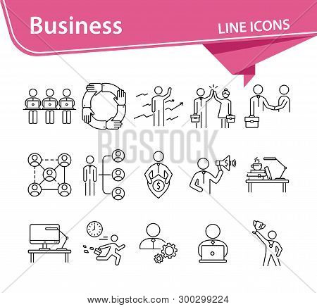 Business Icons. Set Of Line Icons On White Background. Business Hierarchy, Workday, Workplace. Caree