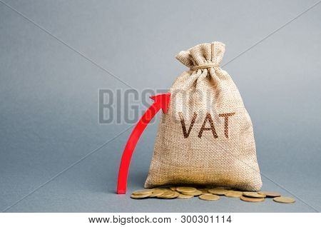 Money Bag And Red Up Arrow. The Concept Of Increasing Vat Tax. Tax Burden On Business Consumers. Vat