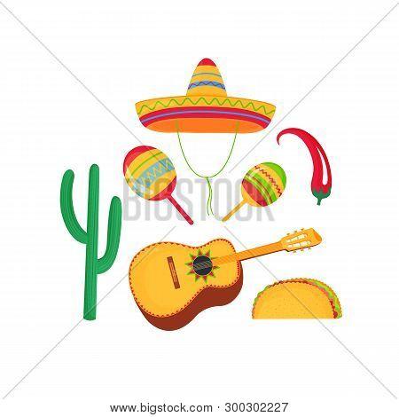 Cinco De Mayo. 5th Of May. Cinco De Mayo. 5th Of May. Sombrero, Maracas And Guitarrone. Mexican Broa